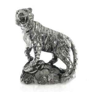 Статуэтка «Денежный Тигр»/серебро, 9х5 см - Фото